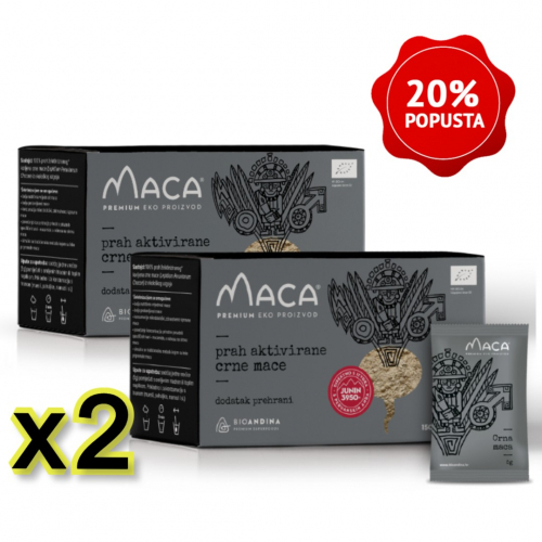 Crna aktivirana Maca – 2x kutija 150g (30x5g)